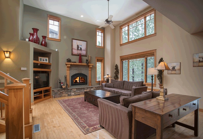Open living room of a Timbers home