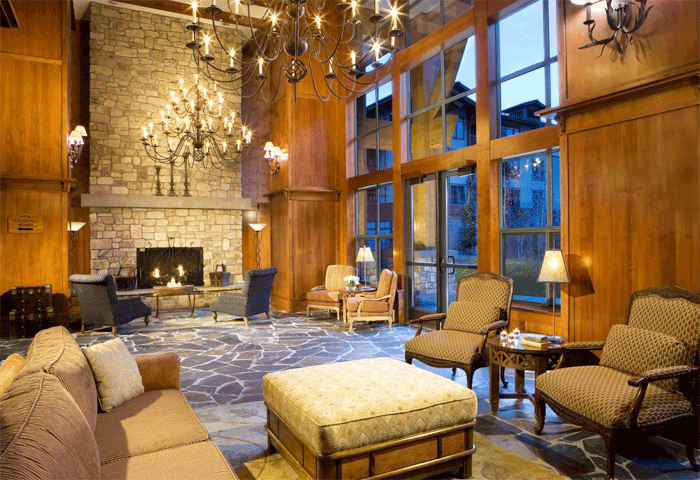 The Village at Mammoth Lobby interior in Grand Sierra Lodge